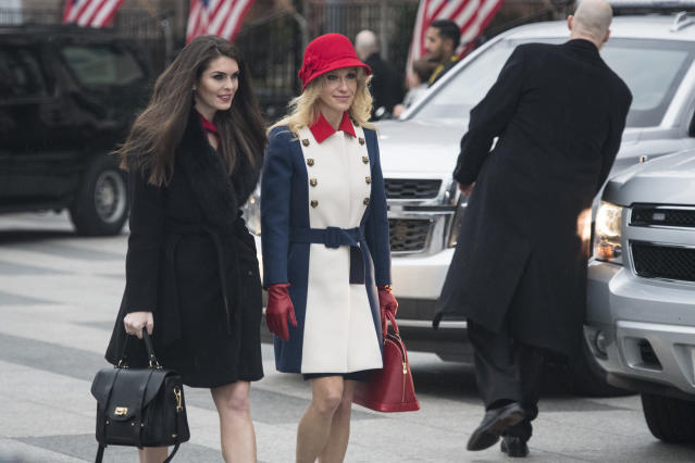 Hope Hicks and Kellyanne Conway depart the Blair House in Washington, DC on Friday, Jan. 20, 2017.