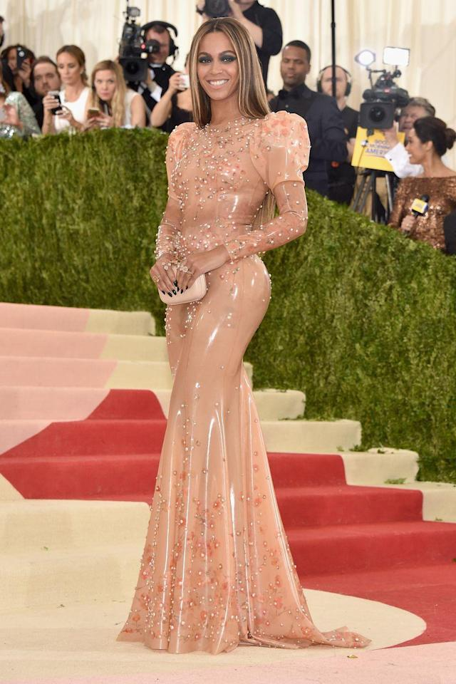 """<p>For the 2016 Met Gala, titled """"Manus x Machina: Fashion in an Age of Technology<em>,"""" </em>Queen Bey arrived just a few weeks after the drop of <em>Lemonade</em> without her husband rapper Jay-Z. The <em>CR</em> girl ditched the ball gown and wore a subversive latex Givenchy dress in an embrace of fetish fashion. It's even rumoured that each of the pearls individually cost $8,000. </p>"""