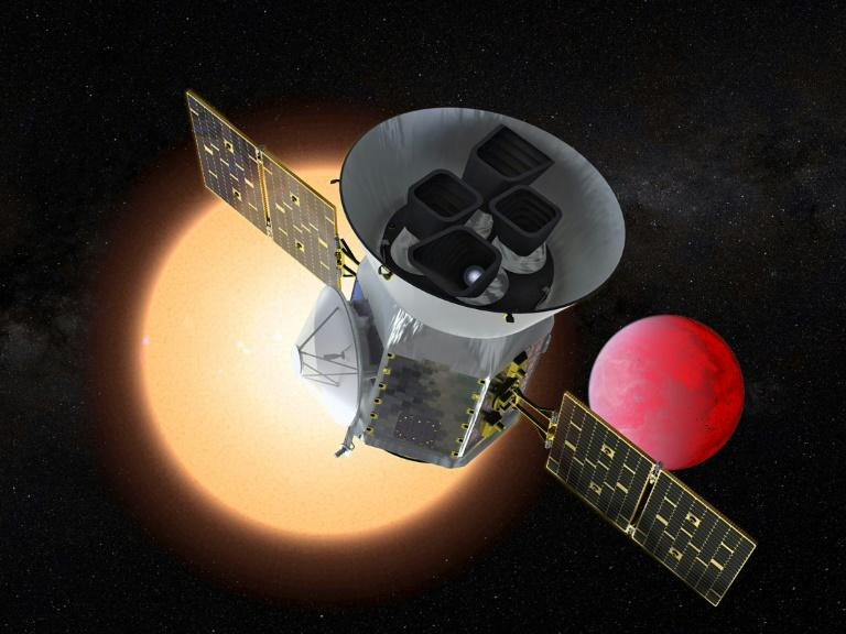This artist's rendition from NASA shows the Transiting Exoplanet Survey Satellite, or TESS, which launching on a mission to search for the nearest Earth-like planets in our cosmic neighborhood