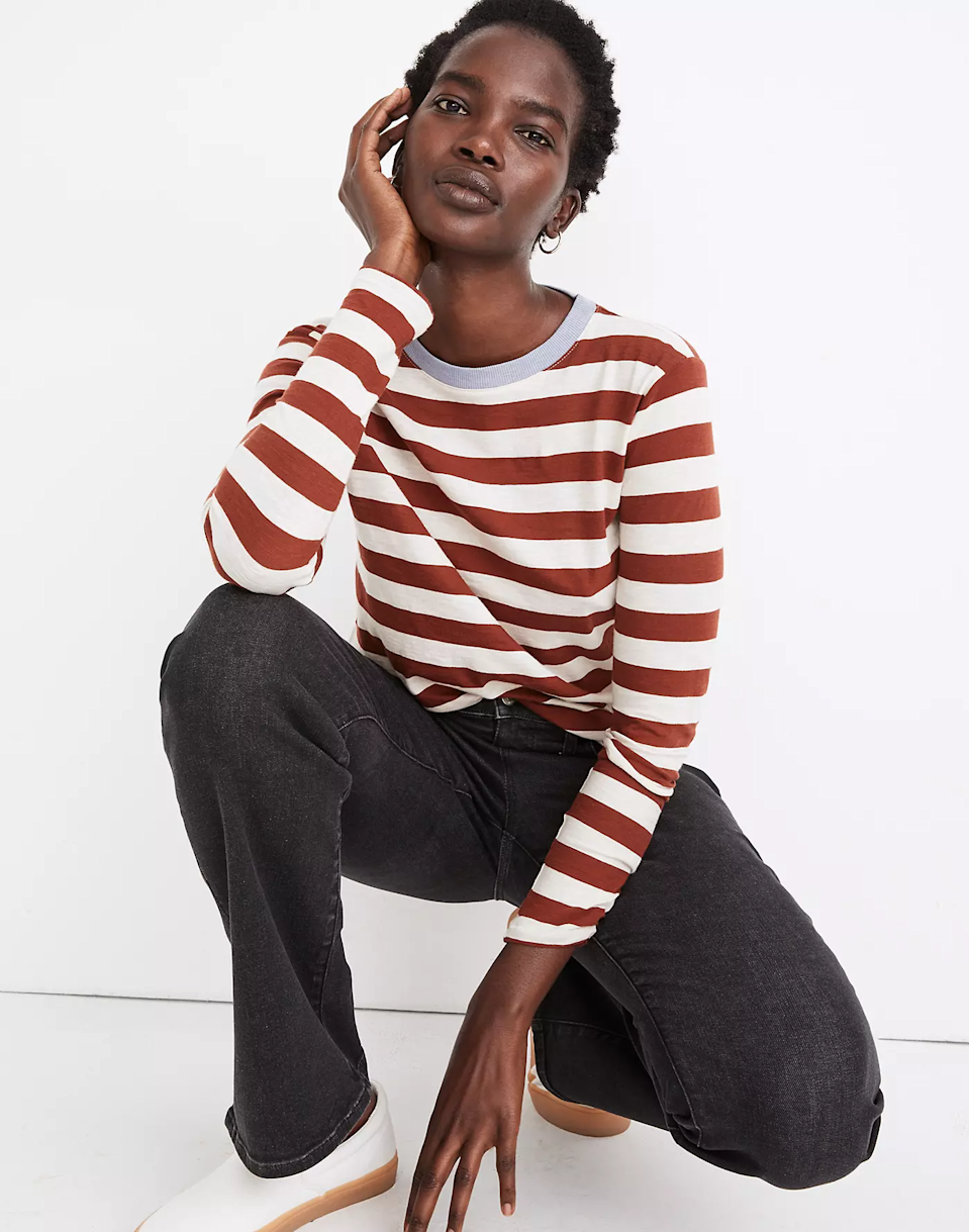 """<br><br><strong>Madewell</strong> Whisper Cotton Rib-Crewneck Long-Sleeve Tee, $, available at <a href=""""https://go.skimresources.com/?id=30283X879131&url=https%3A%2F%2Fwww.madewell.com%2Fwhisper-cotton-rib-crewneck-long-sleeve-tee-in-canarsie-stripe-MB112.html%3Fdwvar_MB112_color%3DKF1724%26cgid%3Dwomens-megafolder"""" rel=""""nofollow noopener"""" target=""""_blank"""" data-ylk=""""slk:Madewell"""" class=""""link rapid-noclick-resp"""">Madewell</a>"""