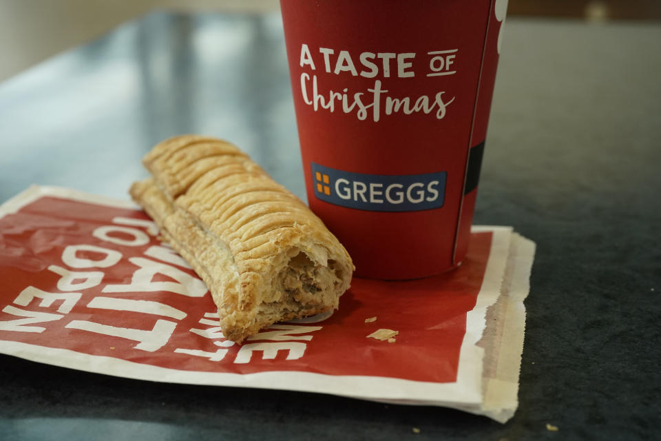 MANCHESTER, ENGLAND - JANUARY 06: In this photo illustration, a Greggs vegan sausage roll lays on a table on January 06, 2019 in Manchester, England. Greggs bakers recently launched the vegan sausage roll to compliment its popular meat sausage roll. The new vegan filling is made out of the company's own bespoke Quorn filling. (Photo Illustration by Christopher Furlong/Getty Images)