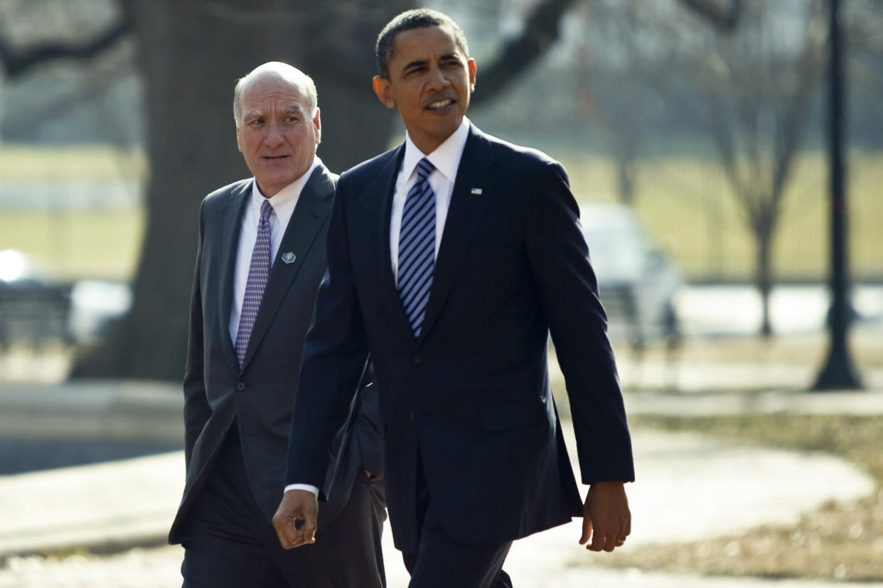 President Barack Obama and William Daley, his chief of staff, in Washington, Feb. 7, 2011. (Drew Angerer/The New York Times)