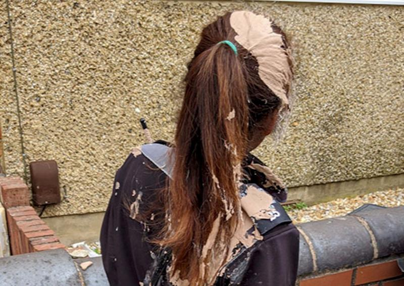 An angry motorist covered a female traffic warden in plaster (Picture: SWNS)