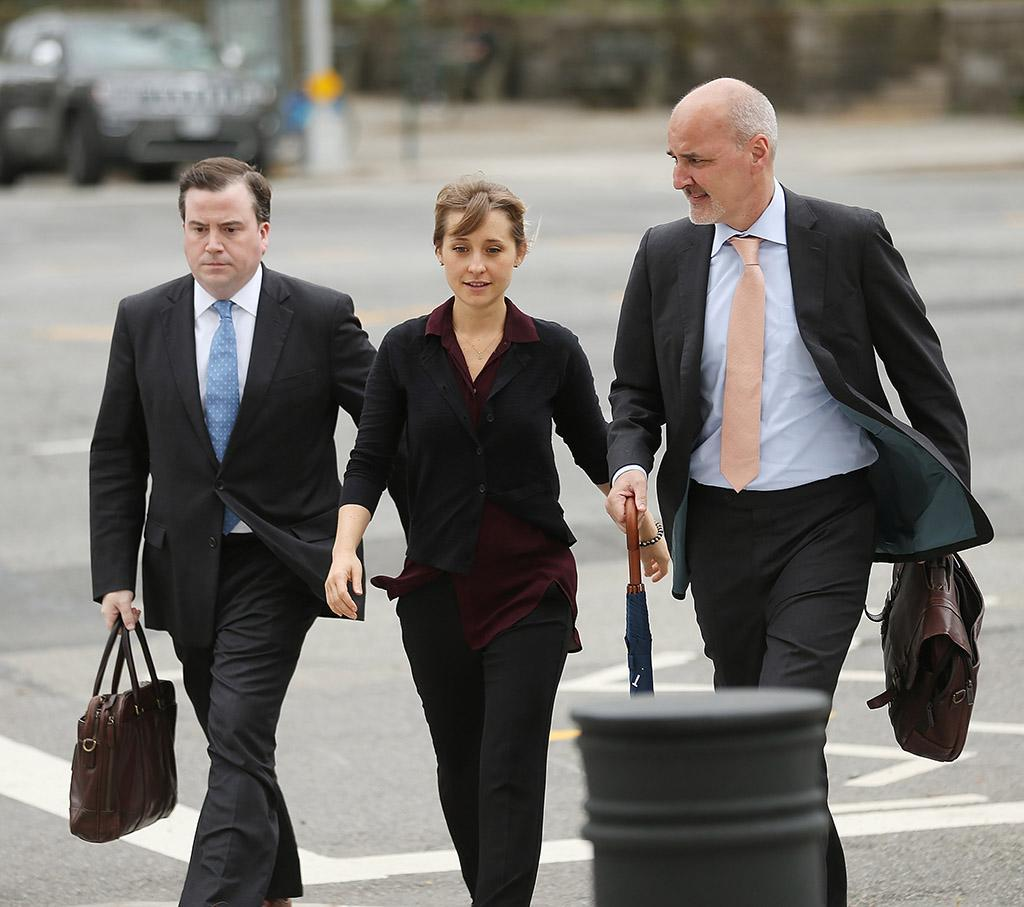 Allison Mack arrives at the U.S. Eastern District Court in New York for a bail hearing in relation to sex-trafficking charges. Photo: Jemal Countess/Getty Images