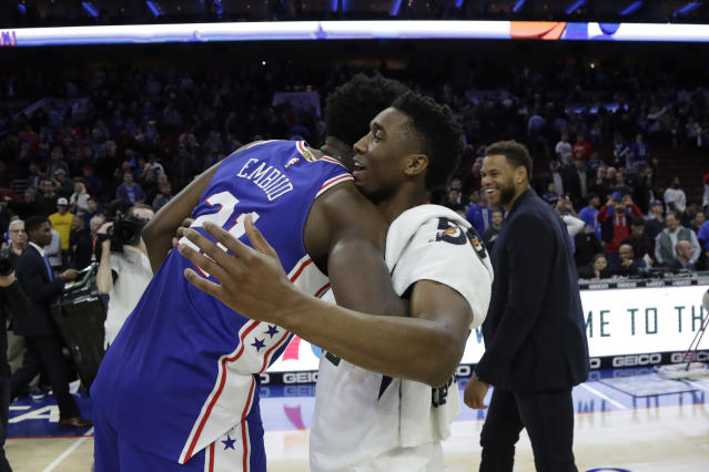 See, Joel Embiid and Donovan Mitchell made up after the game. (AP)