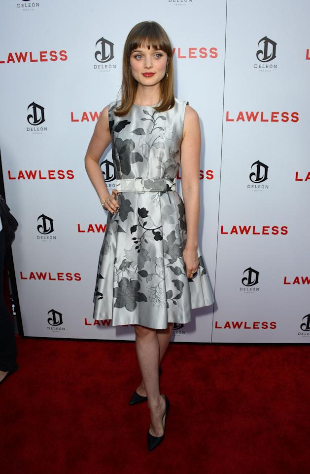 """HOLLYWOOD, CA - AUGUST 22:  Actress Bella Heathcote arrives at the Premiere of the Weinstein Company's """"Lawless"""" at ArcLight Cinemas on August 22, 2012 in Hollywood, California.  (Photo by Frazer Harrison/Getty Images)"""