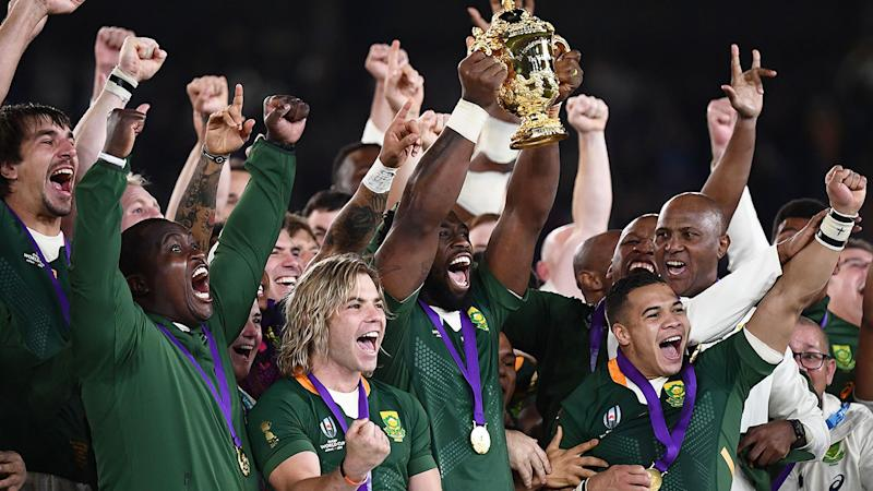 Pictured here, the Springboks celebrate their 2019 Rugby World Cup triumph.