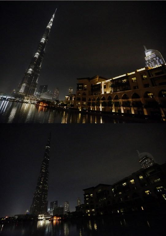 "This combo image shows the lights of the Burj Khalifa tower lit up (TOP) before being switched off for an hour in Downtown Dubai, on March 23, 2013, as iconic landmarks and skylines are plunged into darkness as the ""Earth Hour"" switch-off of lights around the world got under way to raise awareness of climate change. AFP PHOTO/KARIM SAHIB"