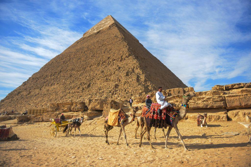 <p></p><p>The Great Pyramid of Giza is the oldest and largest of the three pyramids in the Giza pyramid complex. It is also the oldest of the Seven Wonders of the Ancient World. Experts believe the pyramid was built as a tomb over a 10 to 20-year period finishing around 2560 BC. Initially at 146.5 metres (481 feet), the Great Pyramid was the tallest man-made structure in the world for more than 3,800 years.<br />(Getty) </p><p></p>