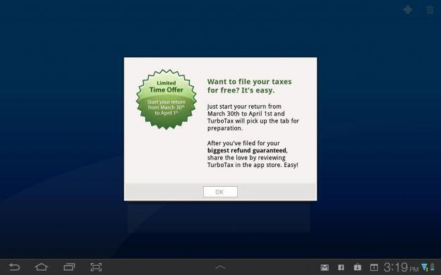 Great Deal: TurboTax for Android tablets free through April 1 (normally $30+)