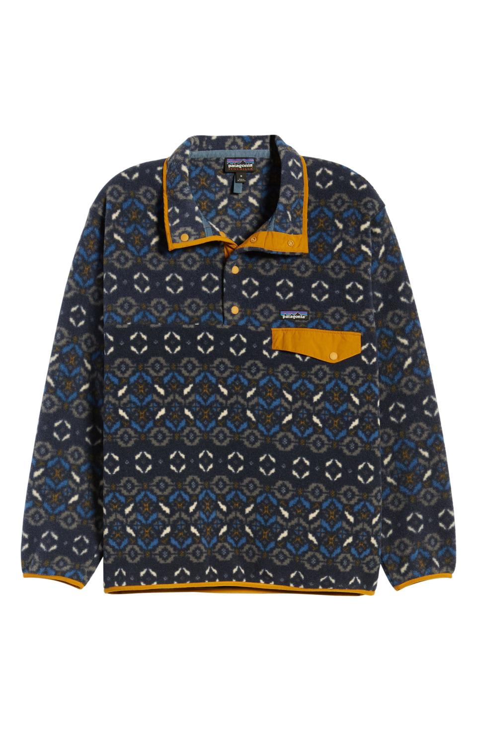 """<p><strong>Patagonia</strong></p><p>nordstrom.com</p><p><strong>$104.25</strong></p><p><a href=""""https://go.redirectingat.com?id=74968X1596630&url=https%3A%2F%2Fshop.nordstrom.com%2Fs%2Fpatagonia-synchilla-snap-t-pullover%2F3483477&sref=https%3A%2F%2Fwww.townandcountrymag.com%2Fstyle%2Ffashion-trends%2Fg32622659%2Fcool-jackets-for-men%2F"""" rel=""""nofollow noopener"""" target=""""_blank"""" data-ylk=""""slk:Shop Now"""" class=""""link rapid-noclick-resp"""">Shop Now</a></p><p>Let's be honest: fleece jackets are not the most exciting. Let's be honest again: we all have one (or many) anyway because they're so darn comfortable. Patagonia's signature pullovers give this casual favorite a cool twist with bold patterns. </p>"""