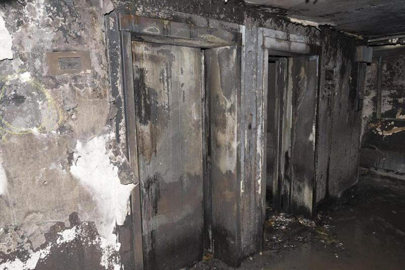 The lift inside the block of flats. (Met Police)