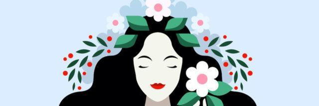 Illustration of woman with wreath of flowers