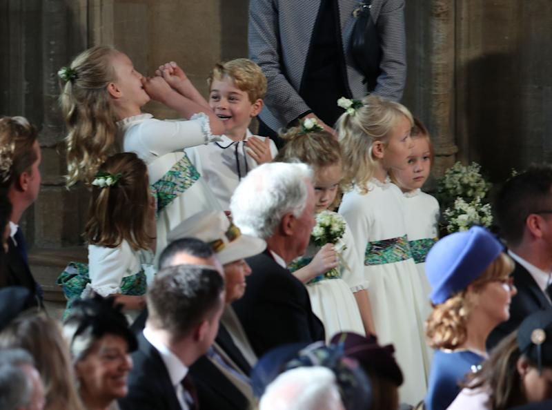 The bridesmaids and page boys, including Princess Charlotte of Cambridge, Savannah Phillips and Prince George of Cambridge wait to take part in the wedding.