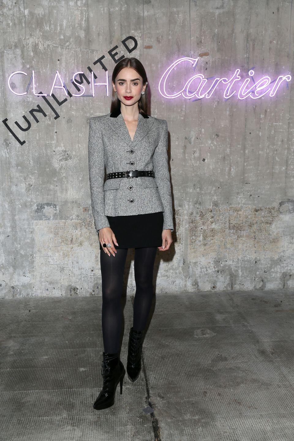 <p>21 September</p><p>Lily Collins wore an Alessandra Rich look with Cartier jewellery to celebrate the new Clash de Cartier collection in Berlin.</p>