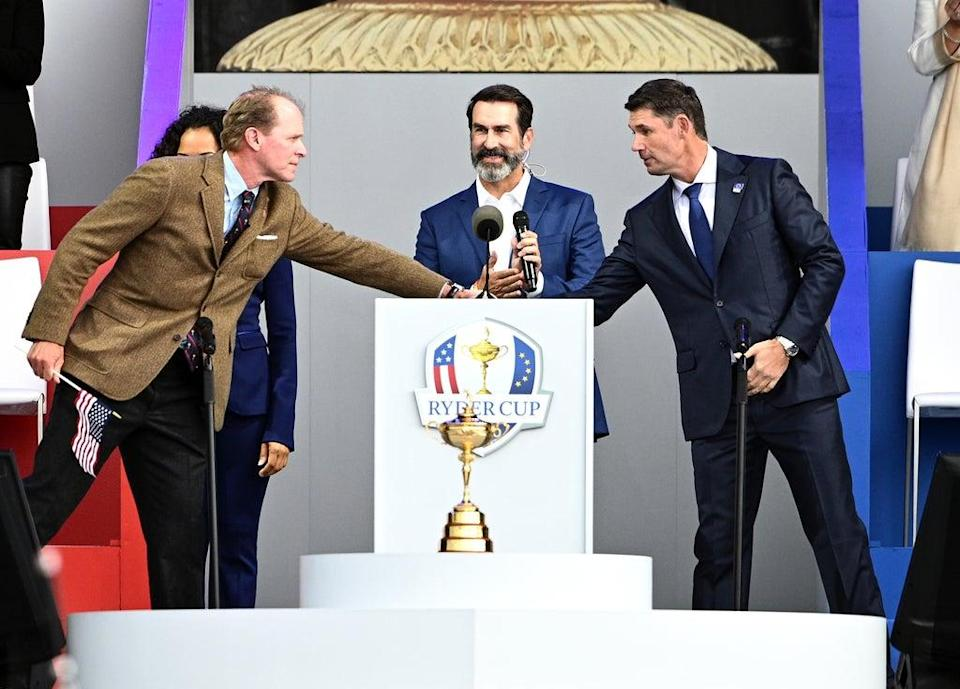 Team USA captain Steve Stricker (left) and Team Europe captain Padraig Harrington shake hands during the Opening Ceremony of the 43rd Ryder Cup at Whistling Straits, Wisconsin (Anthony Behar/PA) (PA Wire)