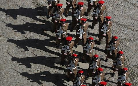 Soldiers based at Catterick Garrison marching through Richmond in North Yorkshire on their first Freedom Parade - Credit: Owen Humphreys/PA