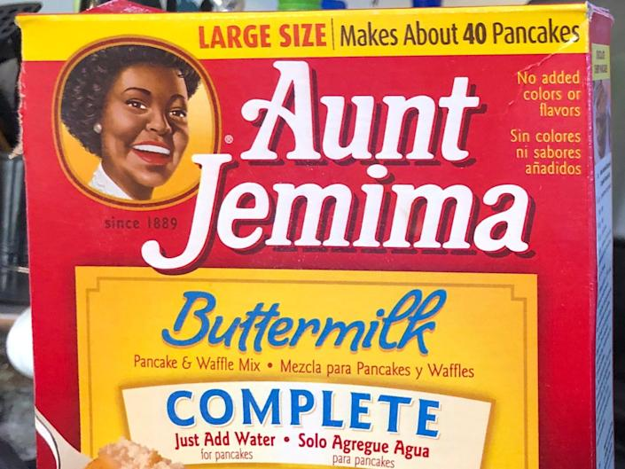 A box of Aunt Jemima pancake mix
