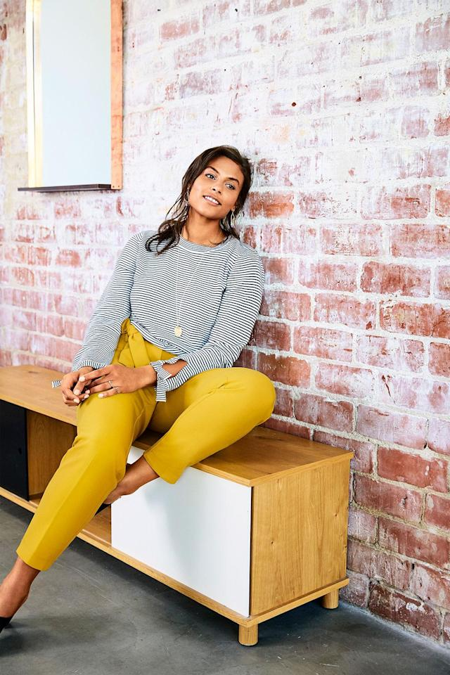 A striped sweater and yellow trousers from new Loft Plus line. (Photo courtesy of Loft)