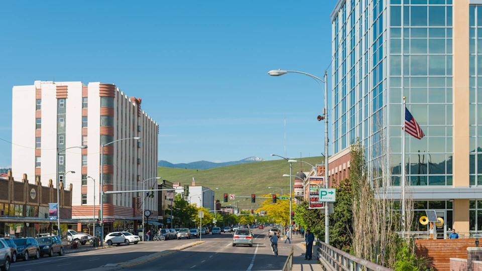 Missoula, United States - May 13, 2016: The downtown area of this college town in Montana is clean, lined with business and historic buildings.