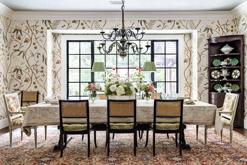"""<p>These days, """"more is more"""" decorating is prevalent on our Instagram feeds, <a href=""""https://www.veranda.com/decorating-ideas/house-tours/a34244489/miles-redd-greenwich-house-tour/"""" rel=""""nofollow noopener"""" target=""""_blank"""" data-ylk=""""slk:magazine covers"""" class=""""link rapid-noclick-resp"""">magazine covers</a>, and even design books. And for traditional, bona-fide maximalists, those of us who have long embraced piling on the pattern and color, a sense of vindication prevails. But for the rest of us just gearing up for vibrant color (one of the <a href=""""https://www.veranda.com/home-decorators/advice-from-designers/g34148741/color-trends-2021/"""" rel=""""nofollow noopener"""" target=""""_blank"""" data-ylk=""""slk:top 2021 color trends"""" class=""""link rapid-noclick-resp"""">top 2021 color trends</a>) and wild prints (think <a href=""""https://www.veranda.com/decorating-ideas/g29191366/unexpected-wallpaper-ideas/"""" rel=""""nofollow noopener"""" target=""""_blank"""" data-ylk=""""slk:unexpected wallpaper ideas"""" class=""""link rapid-noclick-resp"""">unexpected wallpaper ideas</a>), help with mixing pattern in a room is in order. </p><p>Luckily, author and designer James Farmer is here to do just that, with brilliant tips for how to decorate with pattern throughout a house. He shared a recent project with us, which is also featured in his latest book, <em><a href=""""https://www.amazon.com/Arriving-Home-Gracious-Southern-Welcome/dp/1423654137/ref=sr_1_5?dchild=1&keywords=james+farmer+book&qid=1604290587&sr=8-5"""" rel=""""nofollow noopener"""" target=""""_blank"""" data-ylk=""""slk:Arriving Home"""" class=""""link rapid-noclick-resp"""">Arriving Home</a></em> (Gibbs Smith, 2020), that's chock-full of pattern ideas from floor to ceiling (literally). </p><p>""""This was a wonderful collaboration between the client and designer. The owners work really well together. The husband is extremely enthusiastic about his home and design while the wife specifically appreciates comfort. The combination allowed us to utilize pattern play as a traditional means to achiev"""