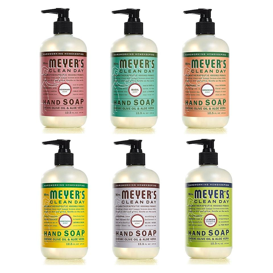 "<h2>Mrs. Meyer's Clean Day Liquid Hand Soap Variety Pack</h2><br>We've come to know and love Mrs. Meyer's like she is our own beloved (and clean-smelling) auntie. With this variety pack, you can test out each and every scent. <br><br><strong>Mrs. Meyers</strong> Mrs. Meyer's Clean Day Liquid Hand Soap, $, available at <a href=""https://www.amazon.com/Mrs-Meyers-Clean-Day-Variety/dp/B018KT5CX2/ref=sr_1_5?"" rel=""nofollow noopener"" target=""_blank"" data-ylk=""slk:Amazon"" class=""link rapid-noclick-resp"">Amazon</a>"