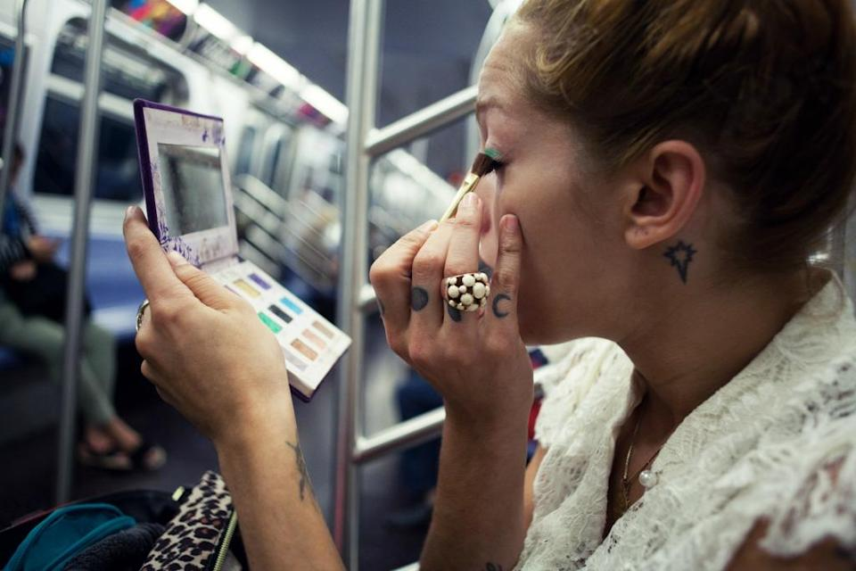 This woman is annoying about four in ten of her fellow passengers. (Photo: Getty)