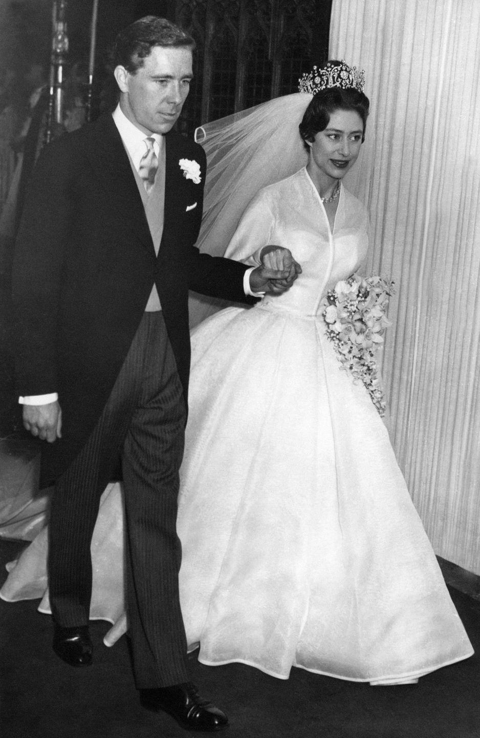 <p>Another royal wedding rolled around in 1960, when Princess Margaret joined Antony Armstrong-Jones at the alter in Westminster Abbey. The Queen's younger sister wore the Poltimore tiara with a cathedral length veil and a silk organza gown. On their wedding day, her husband earned the title of the 1st Earl of Snowdon. </p>