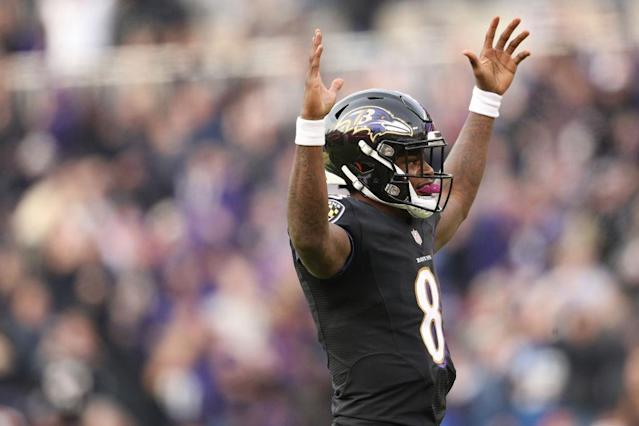 "Can <a class=""link rapid-noclick-resp"" href=""/nfl/players/31002/"" data-ylk=""slk:Lamar Jackson"">Lamar Jackson</a> lead fantasy owners to a championship? (Photo by Patrick Smith/Getty Images)"