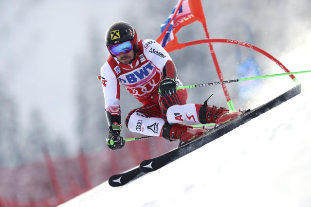 Austria's Marcel Hirscher competes during a ski World Cup men's Giant Slalom in Adelboden, Switzerland, Saturday, Jan.12, 2019. (AP Photo/Shinichiro Tanaka)