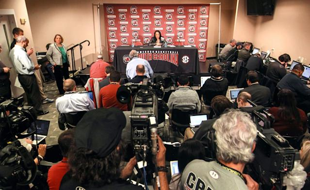 Diana Koval, top left, looks out at the media coverage during a news conference with head coach Dawn Staley (Provided by Diana Koval/South Carolina athletics)