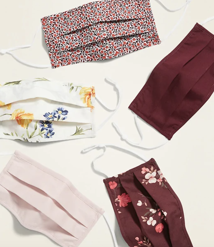"""<h2>Old Navy 5-Pack of Triple-Layer Cloth Pleated Face Masks</h2><br>Designed per CDC recommendations, Old Navy's pack of face masks includes pleated, triple-layered cloth numbers with cutesy prints. <br><br><strong><em><a href=""""https://oldnavy.gap.com/browse/category.do?cid=1164877"""" rel=""""nofollow noopener"""" target=""""_blank"""" data-ylk=""""slk:Shop Old Navy"""" class=""""link rapid-noclick-resp"""">Shop Old Navy</a></em></strong> <br><br><strong>Old Navy</strong> 5-Pack of Triple-Layer Cloth Pleated Face Masks, $, available at <a href=""""https://go.skimresources.com/?id=30283X879131&url=https%3A%2F%2Ffave.co%2F38xV0O1"""" rel=""""nofollow noopener"""" target=""""_blank"""" data-ylk=""""slk:Old Navy"""" class=""""link rapid-noclick-resp"""">Old Navy</a>"""