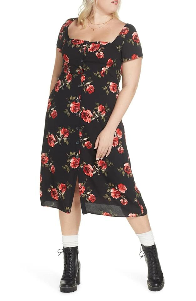 "<p>You can wear this <a href=""https://www.popsugar.com/buy/BP-x-Claudia-Sulewski-Floral-Print-Button-Front-Midi-Dress-484444?p_name=BP.%20x%20Claudia%20Sulewski%20Floral%20Print%20Button%20Front%20Midi%20Dress&retailer=shop.nordstrom.com&pid=484444&price=59&evar1=fab%3Auk&evar9=45208505&evar98=https%3A%2F%2Fwww.popsugar.com%2Ffashion%2Fphoto-gallery%2F45208505%2Fimage%2F46581910%2FBP-x-Claudia-Sulewski-Floral-Print-Button-Front-Midi-Dress&list1=shopping%2Cfall%20fashion%2Cdresses%2Cfall%2Ccurvy%20fashion&prop13=api&pdata=1"" rel=""nofollow"" data-shoppable-link=""1"" target=""_blank"" class=""ga-track"" data-ga-category=""Related"" data-ga-label=""https://shop.nordstrom.com/s/bp-x-claudia-sulewski-floral-print-button-front-midi-dress-plus-size/5375832?origin=category-personalizedsort&amp;breadcrumb=Home%2FWomen%2FClothing%2FPlus-Size%20Clothing%2FNew%20Arrivals&amp;color=black%20rose%20floral"" data-ga-action=""In-Line Links"">BP. x Claudia Sulewski Floral Print Button Front Midi Dress</a> ($59) with sneakers, boots, and more.</p>"