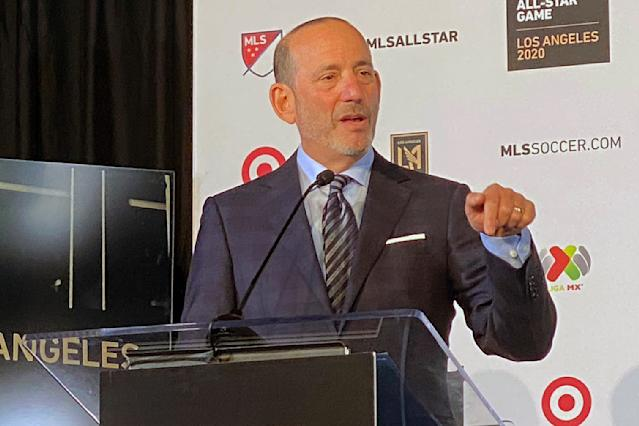 Major League Soccer Commissioner Don Garber announces that the league's 2020 All-Star Game will be held in Los Angeles during a press conference at Banc of California Stadium in Los Angeles, Wednesday, Nov. 20, 2019. The game, which will be held on July 29, 2020, will match the best of MLS against the All-Stars from Mexico's LIGA MX. (AP Photo/Joe Reedy)