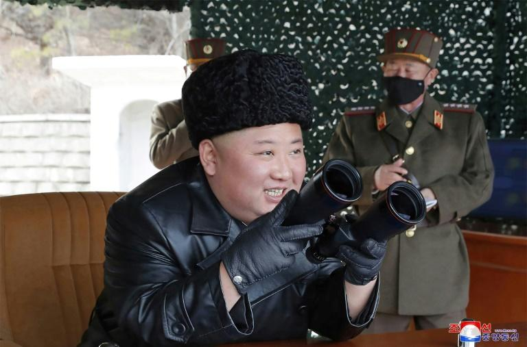 "Kim Jong Un oversaw a Korean People's Army ""long-range artillery"" drill at an undisclosed location on March 2, 2020 (AFP Photo/STR)"