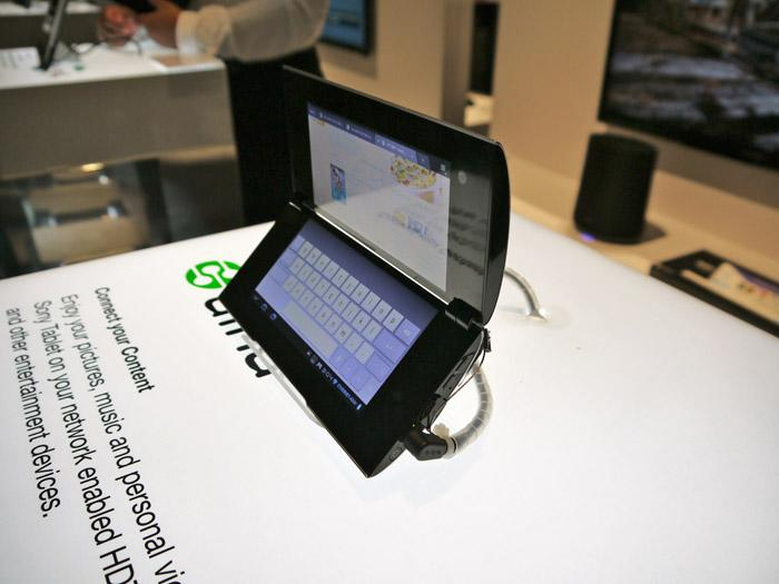The Sony Tablet P has a unique curved clam-shell design with dual 5.5-inch screens for reading books, sending e-mail or viewing video. (Scott Ard/Yahoo! News)