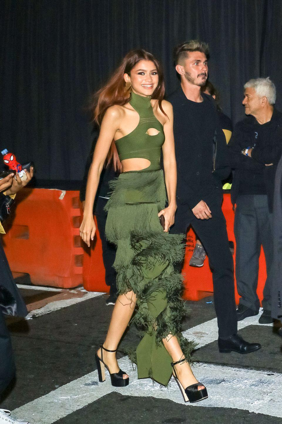 <p>Zendaya wore a Balmain gown in LA. </p>