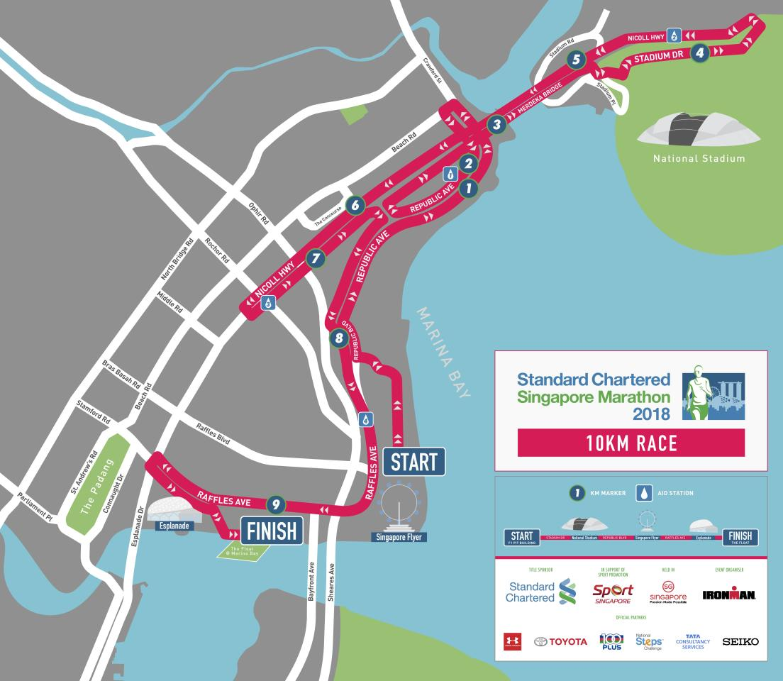 <p>Route map for 10km race in Standard Chartered Singapore Marathon 2018 (Infographic: Standard Chartered Singapore Marathon) </p>