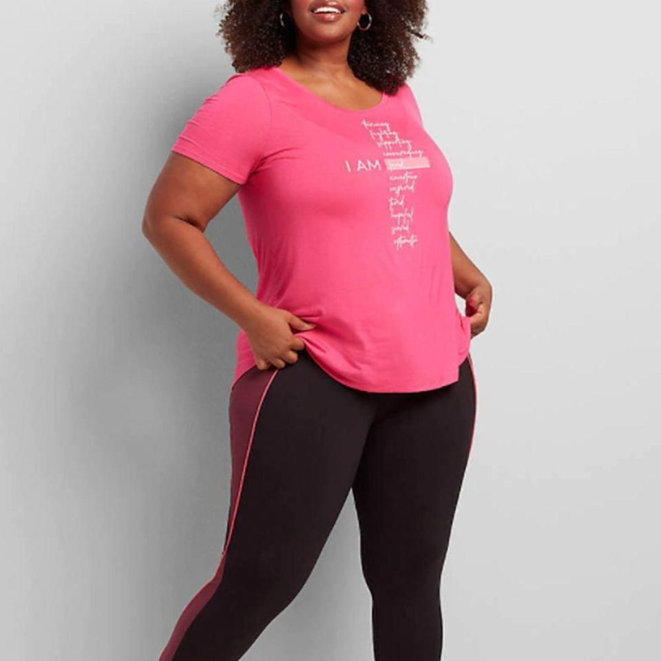 """<p><strong>Lane Bryant</strong></p><p>lanebryant.com</p><p><strong>$34.95</strong></p><p><a href=""""https://go.redirectingat.com?id=74968X1596630&url=https%3A%2F%2Fcacique.lanebryant.com%2Flivi-i-am-loved-graphic-tee%2Fprd-365577&sref=https%3A%2F%2Fwww.prevention.com%2Flife%2Fg34387434%2Fbreast-cancer-shirts-clothing%2F"""" rel=""""nofollow noopener"""" target=""""_blank"""" data-ylk=""""slk:Shop Now"""" class=""""link rapid-noclick-resp"""">Shop Now</a></p><p>As partners of BCRF, this Lane Bryant top is perfect for literally anyone who is either supporting or battling breast cancer. The sentiment remains the same: You are loved. Buy one for yourself and a friend to promote the campaign everywhere you go. </p>"""