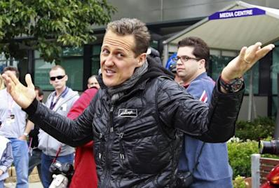 File photo of Mercedes Formula One driver Schumacher gesturing before the qualifying session of the Australian F1 Grand Prix at the Albert Park circui