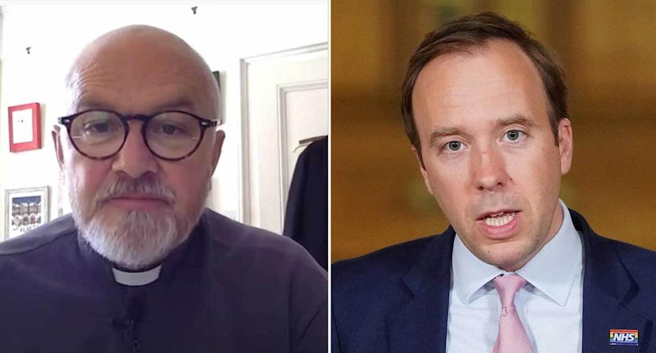Reverend Martin Poole, left, asked Matt Hancock about families who may have incurred fines for travelling for childcare reasons.
