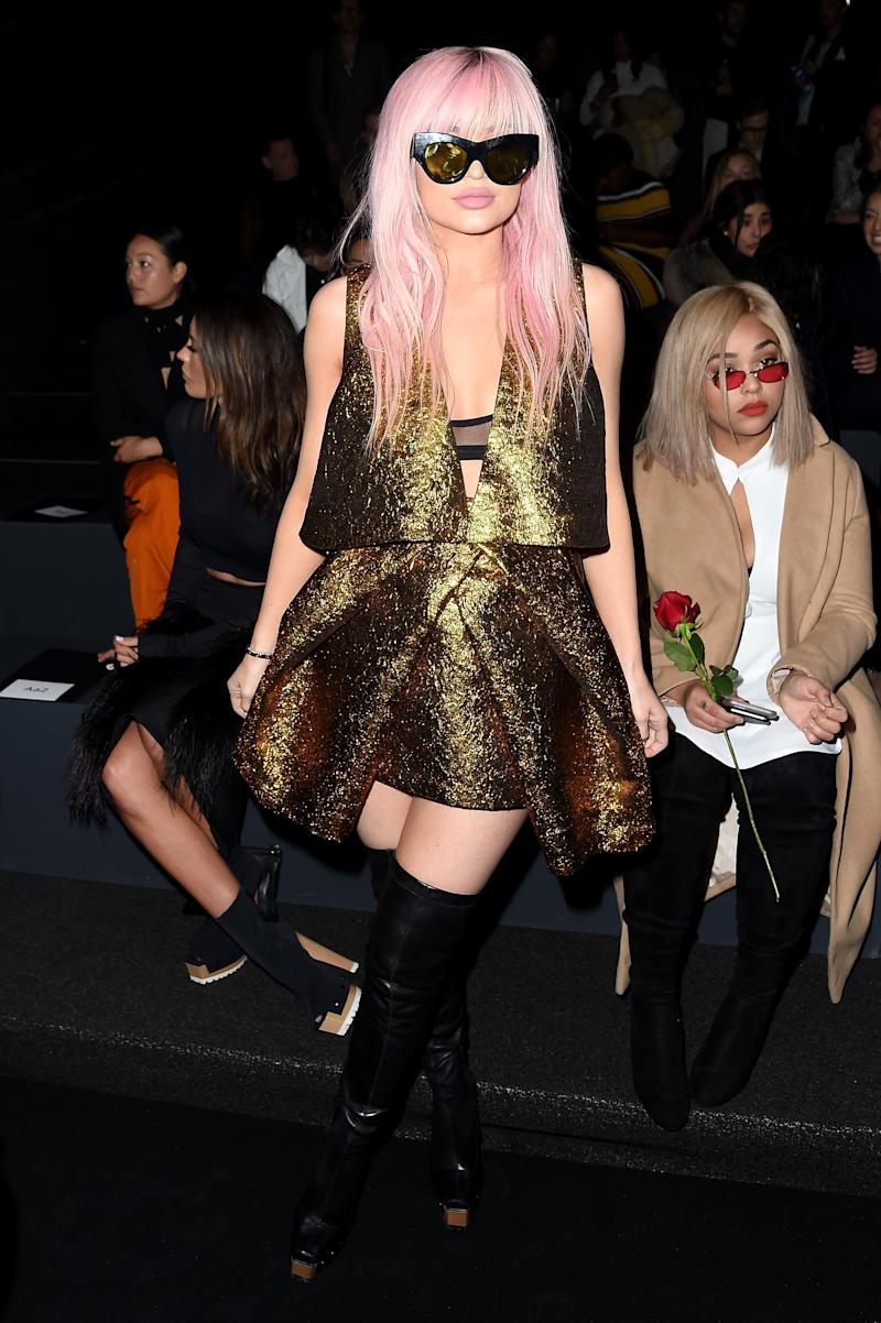 Also a regular at Vera Wang, though perhaps an unexpected one, Jenner went full-on Kylie Minogue during the Fall 2016 season at New York Fashion Week in New York, New York, February 2016.