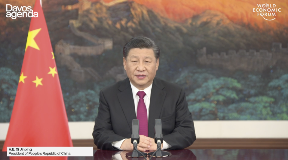China president Xi Jinping. Photo: WEF livestream