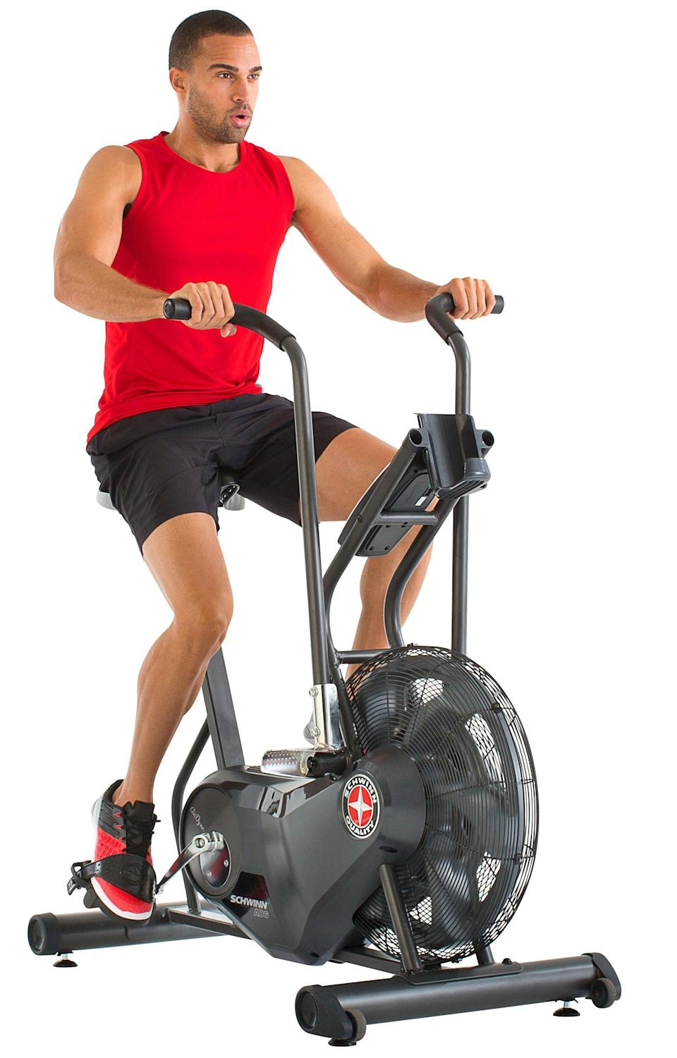 """<p><strong>Schwinn</strong></p><p>walmart.com</p><p><strong>$874.99</strong></p><p><a href=""""https://go.redirectingat.com?id=74968X1596630&url=https%3A%2F%2Fwww.walmart.com%2Fip%2F21961840%3Fselected%3Dtrue&sref=https%3A%2F%2Fwww.womenshealthmag.com%2Ffitness%2Fg37679339%2Fwalmart-indoor-exercise-bike-sale%2F"""" rel=""""nofollow noopener"""" target=""""_blank"""" data-ylk=""""slk:Shop Now"""" class=""""link rapid-noclick-resp"""">Shop Now</a></p><p>Want to add an indoor bike to your setup, but don't want to swallow up precious square footage? Decked out with a cushioned seat for a comfortable ride, Schwinn's upright bike ticks of all of the boxes, and then some. Plus, the heart rate monitor is an easy way to track your progress and growth.</p>"""