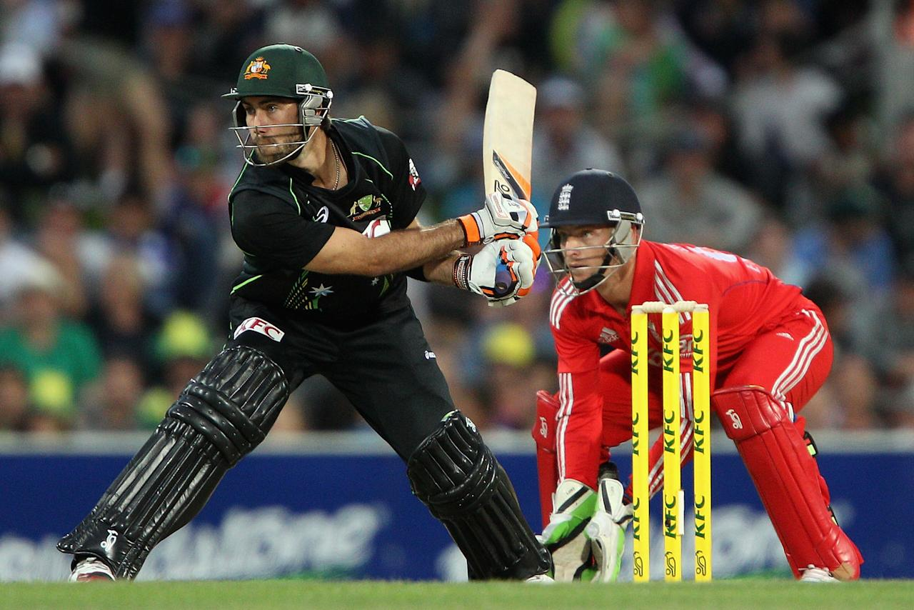 HOBART, AUSTRALIA - JANUARY 29:  Glenn Maxwell of Australia plays a shot during game one of the International Twenty20 series between Australia and England at Blundstone Arena on January 29, 2014 in Hobart, Australia.  (Photo by Robert Prezioso/Getty Images)