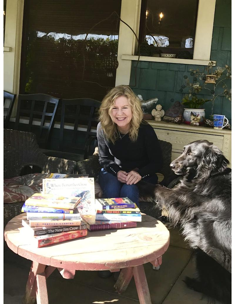Author Susan Straight on her porch.