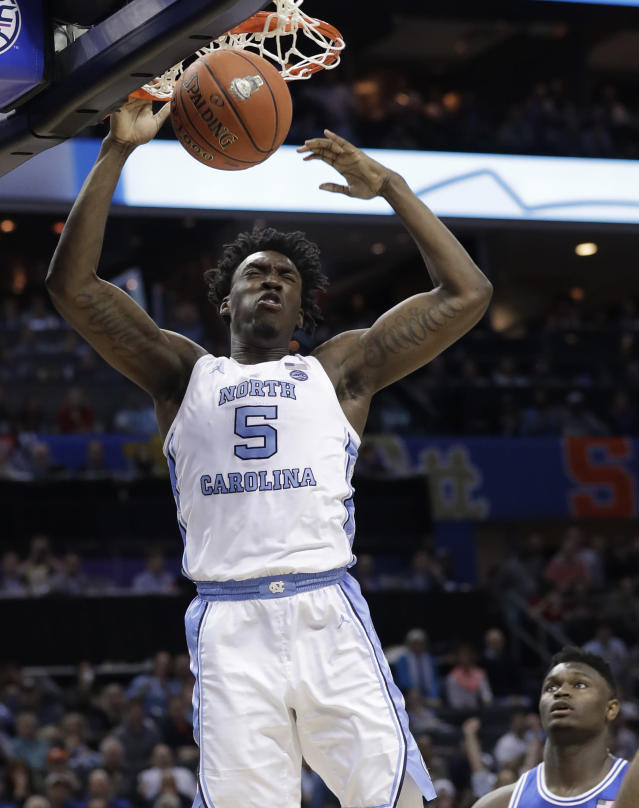 FILE - In this March 15, 2019, file photo, North Carolina's Nassir Little (5) dunks against Duke during the second half of an NCAA college basketball game in the Atlantic Coast Conference tournament, in Charlotte, N.C. Little is one of the top forwards in the NBA Draft on Thursday, June 20. (AP Photo/Chuck Burton, File)