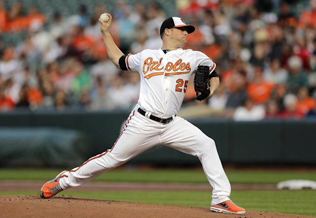 Baltimore Orioles starting pitcher Bud Norris throws to the Boston Red Sox in the first inning of a baseball game, Monday, June 9, 2014, in Baltimore. (AP Photo/Patrick Semansky)