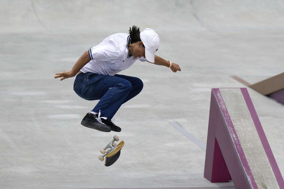 """FILE - In this July 26, 2021, file photo, Alexis Sablone of the United States competes in the women's street skateboarding finals at the 2020 Summer Olympics, in Tokyo, Japan. The Tokyo Games are shaping up as a watershed for LGBTQ Olympians. Openly gay Sablone says """"it's about time."""" (AP Photo/Ben Curtis, File)"""