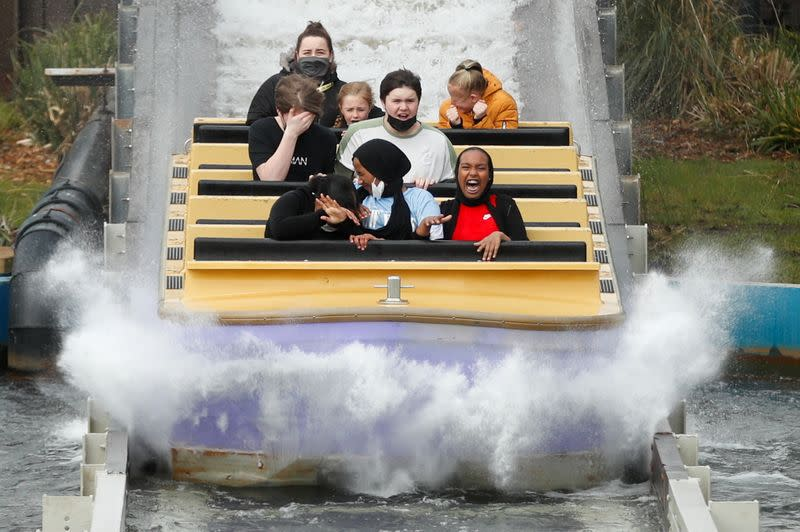 Thorpe Park reopens as COVID-19 restrictions ease, in London